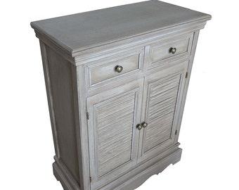 Vintage Distressed Painted Wood Cabinet / Rustic Cottage / Farm House