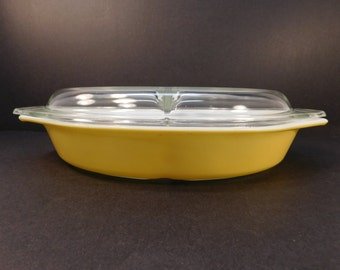 Vintage Pyrex Lemon Yellow Divided Casserole Dish with Lid