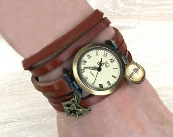 Women's leather watch, handmade watch, gift for her, bird and carpe diem