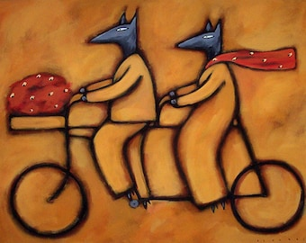 Dos en Bici 3, acrylic on canvas painting