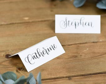 Calligraphy Place Cards for Weddings & Parties - White