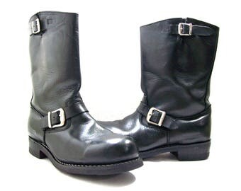 Black Leather Boots US size 10.5\EU size 44-45, Motorcycle Leather Boots, Biker Boots, Men's Engineer Boots, Buckle Straps, Oil Resistant