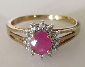 9ct Gold Oval Ruby and Diamond Cluster Ring