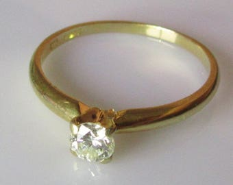 18ct Diamond Solitaire Ring UK Size M 1/2 USA 6 1/4