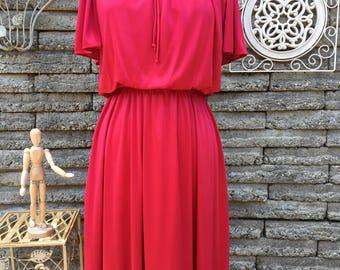 Vintage 1970's Disco Dress * Garnet Red * Size Small to Medium