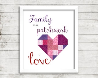 Print: Family is a Patchwork of Love. Digital Quilt or Sew Quote, Instant Download of Quilt Studio Art for Fabric Lover Sewing