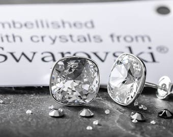 Sterling Silver Stud Earrings *Square* Crystals from Swarovski®