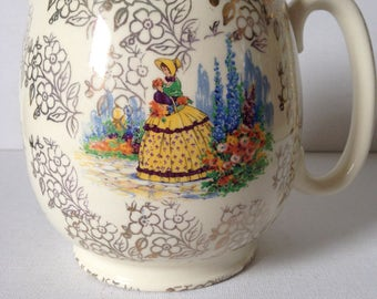 Sadler Milk Jug, Sadler Jug, Milk Jug, Jug Vase, Ceramic Jug, Crinoline Lady China,  Crinoline Lady, Cottage Chic, Cottage Decor, Sadler