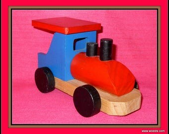Vintage wooden toy train - steamengine - locomotive.