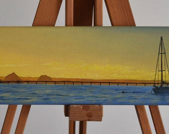 Original Oil Paiting. Sunset over water. Sail boat.