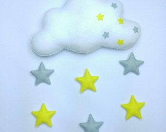 Nursery Grey and yellow star mobile with cloud. Baby gift
