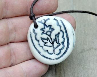 Ceramic Necklace Pendant - Blue and white porcelain pendant, boho jewellery, bohemian jewelry, gypsy necklace, ceramic pendant