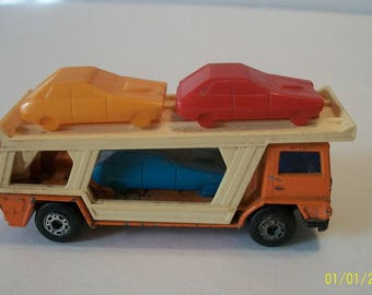 1976 Orange  Car Transporter  Lesney/Matchbox Superfast No 11 Made In England 1/64 Scale Loose Diecast  With 3 Plastic Cars