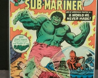 1975 Marvel Super-Heroes #50 Featuring The Hulk and Sub-Mariner A World He Never Made VG-VF Condition  Vintage Stan Lee Marvel Comic Book