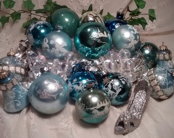 Mercury Glass Vintage Christmas Ornaments in Shades of Aqua, Turquoise, and Silver - Collection of 16