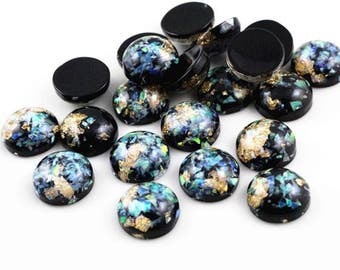 10pcs 12mm Black Galaxy Resin Metal Foil Cabochons Faux Gemstone Gemstones Cabochon Flat Bezel Bezels DIY Jewelry Supply Jewellery Supplies