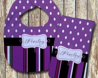 Presley Monogrammed Baby Bib with matching Burp Cloth Set (Purple)