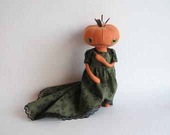 OOAK Art Doll Pumpkin Head, Primitive Pumpkin Girl, Pumpkin Halloween Cloth Doll, Pumpkin Queen, Halloween Gift