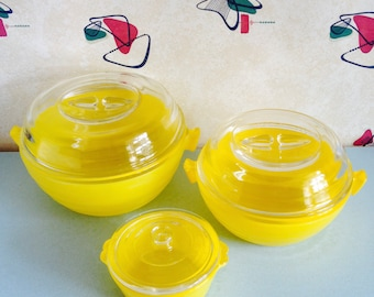 Set of Three, Phoenix, Yellow, Sprayware, Glass, Casserole Dishes