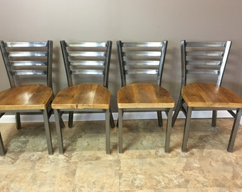 Reclaimed Dining Chair| Set of 5 | In Gun Metal Gray Metal Finish | Ladder Back Metal | Restaurant Grade -18 Inch High Dining Chair
