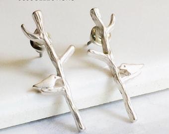 Silver Matte Bird Tree Earrings