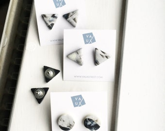 Grey, Lemon and Black Abstract Minimal Triangle - Stud Earrings - Surgical Steel Posts.
