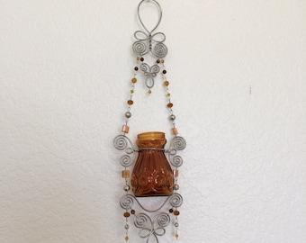Repurposed pressed glass vase/candleholder