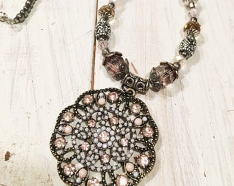 Soft Pink and Vintage Silver Bling Beaded Necklace