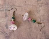 Beaded Earrings, Ceramic Earrings, Malachite Stone Beads, Womens Gift, Anniversary Gift, Teen Girls Jewelry, Handmade Jewelry