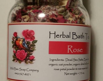 Rose Herbal Bath Tea, Rose Bath Tea, Rose Bath Salts, Bath Salts, Rose, Vegan Bath Salts, Vegan Bath Tea, Christmas Gift