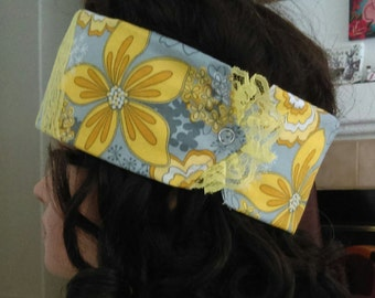 Grey and Yellow Floral Winter Headband