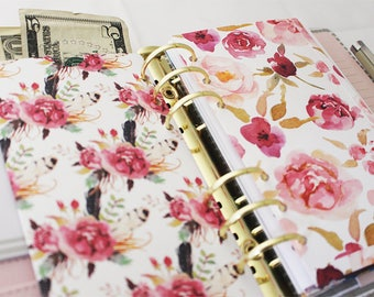 BLOOM COLLECTION Planner Pockets | Budget Envelopes | Set of 6 Top-Loading NO Flap | DreamPlanRepeat