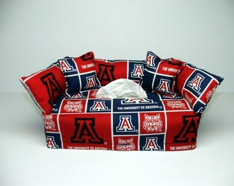 University of Arizona Licensed fabric tissue box cover.