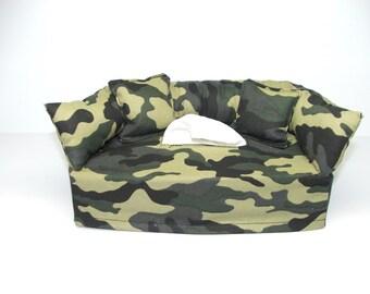 Camaflauge Designer fabric tissue box cover.