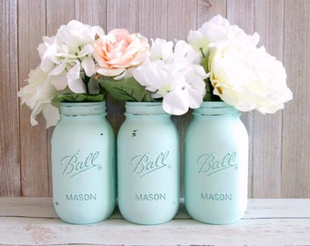 Mint Green Mason Jars - Mint Centerpiece - Mason Jar Decor - Painted Mason Jars - Set of 3 Quart Mason Jars - Baby Shower Centerpiece