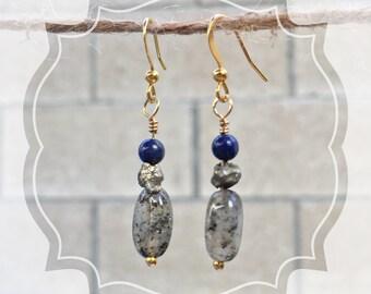 Lapis Lazuli, Pyrite & Agate Dangle Earrings