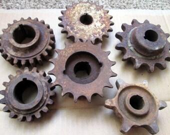 6 Rustic Vintage Metal Gear lot Rusty Gears/Cogs, Steam Punk Industrial