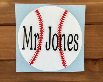 Baseball Decal - Personalized - Baseball Sticker - Glitter Baseball - Baseball Mom - Laptop Decal - Phone Decal - Car Decal - Tumbler Decal