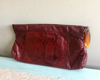 Vintage Red Snakeskin Clutch Purse Beautiful snakeskin clutch