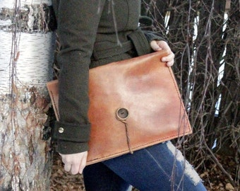 Women's Personalized Leather Case Laptop Case Women's Gift Leather Carrier Document Holder Valentines Day Leather Briefcase Gift for her