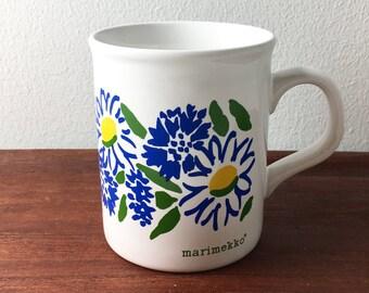 Vintage Marimekko pattern mug, 1980s, Made by Staffordshire Potteries in England.