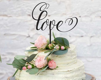 "Wedding and Engagement Acrylic Cake Topper - ""Love"" (ARC1620) MADE IN Australia"