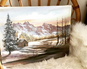 Vintage Rocky Mountain Original Oil Painting