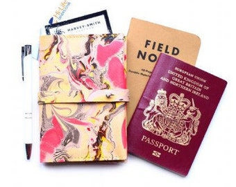 Pink Luxury Leather Passport Cover Card Pen Notebook Holder