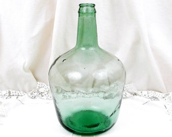 Vintage 4 Liters  / 1.05 Gallons Liters French Green Glass Demijohn, French Country Decor, Rustic, Dame Jeanne, Vase, Shabby, Chic, Chateau