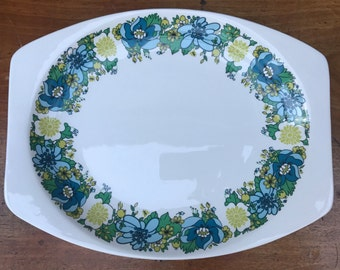 J&G Meakin Rare Retro 'Spring Morning' Large Serving Plate Platter Green Lime Blues