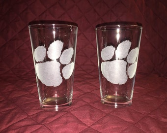 2 Hand Etched Clemson Pint Glasses!