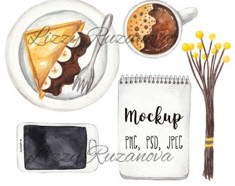 Breakfast. Watercolor set. Hand painted illustration PSD