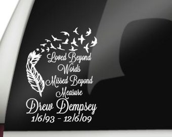 Loved Beyond Words, Missed Beyond Measure Car Decal, In Loving Memory Decal, Remembrance Decal