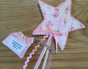 Personalised fairy wand with matching mini tooth fairy pouch
